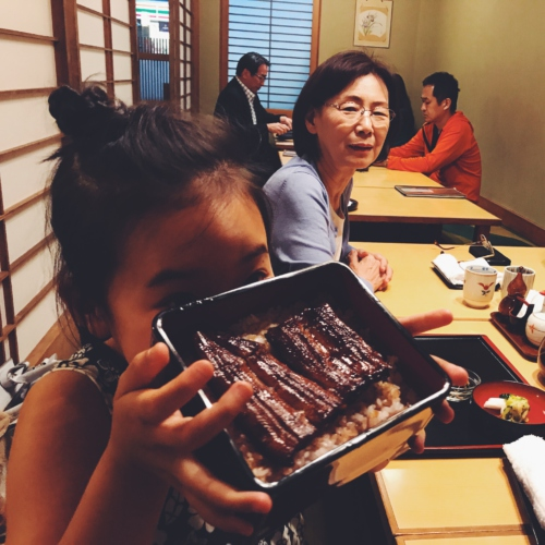 I ate eel with Grandpa and Grandnee♪